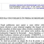 Uniunea Ziaristilor Profesionisti din Romania cere Ambasadei Ungariei scuzele oficiale pentru jignirea presei romane si retragerea atasatului-derbedeu