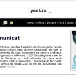 CRJI, un organ de investigatii transparent doar cu Patriciu si Voiculescu. Numai Kamikazeonline.ro publica telegramele Wikileaks in original. Au ajuns la 12 din 1027. Hotnews, frectie la piciorul de lemn al lui Vintu. Hais la Basescu, cea la Rusia