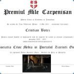 Premiul Mile Carpenisan pentru Curaj si Excelenta in Jurnalism atribuit anul acesta ziaristilor Cristian Botez si Florin Budea, pentru curajul si profesionalismului dovedit in exercitarea si apararea profesiei de jurnalist. COMUNICAT