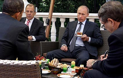 Obama Lavrov Putin Dacha Novo-Ogaryovo next to Moscow July 2009