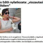 """Instanta din Oradea: """"Tokes a avut relatii extraconjugale"""". Doamna Edith Tokes sare in apararea Ziaristilor Online si a onoarei ei: Adjunctul lui Tokes, Demeter Szilard, """"minte si inseala"""" opinia publica"""