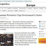 Am fost cautat de corespondentul The New York Times pentru a relata despre protestele din Romania. Cum nu m-a lasat sotia mea, fotografa Cristina Nichitus Roncea, sa apar in NYT. De la Occupy Wall Street la Ocupati Romania