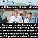 De ce votez DA la Referendum, ce traznai mai scrie George Roncea, un poster de pe Facebook cu Ungureanu si Macovei inrolati in armata homosexualilor si ce vraji a mai facut procuroarea comunista pe 13-15 la Unitatea de la Magurele
