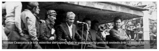 Constantin Dobre si Nicolae Ceausescu la Lupeni 1977