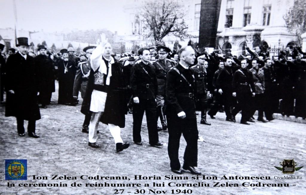 Ion Zelea Codreanu - Horia Sima - Ion Antonescu la reinhumarea Capitanului Miscarii Legionare - nov 1940 - Civic Media