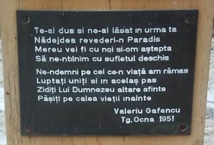Placa Troita Valeriu Gafencu Sfantul Inchisorilor Targu Ocna
