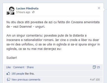 Lucian Mandruta bate campii pe Facebook in stil ungro-tiganesc in cazul elevei din Covasna