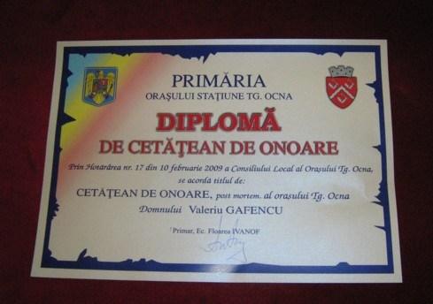 Diploma Cetatean de Onoare al orasului Targu Ocna - Valeriu Gafencu