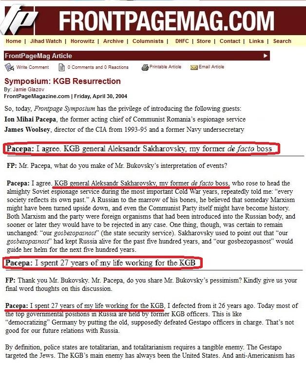 FrontPage Magazine KGB Ressurection Ion Mihai Pacepa - KGB,  James Woosley - CIA, Vladimir Bukovsky 2004 2