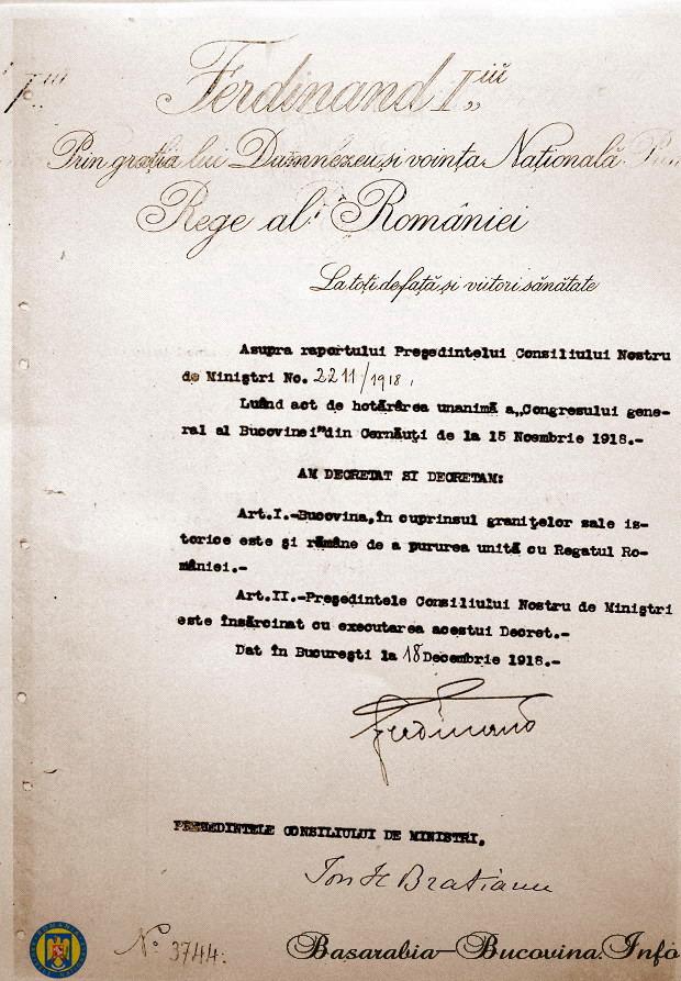 1-Bucovina-pururea-unita-cu-Regatul-Romaniei-Decretul-Regelui-Ferdinand-18-Dec-1918-Basarabia-Bucovina.Info_