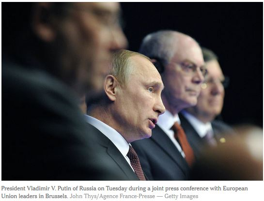 Putin la Bruxelles Getty Images via NYT  28.01.2014