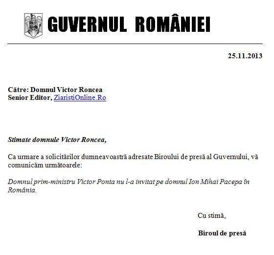 Guvernul Romaniei Victor Ponta nu l-a invitat niciodata pe Ion Mihai Pacepa in Romania - Document Ziaristi Online