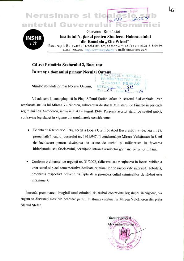 Inst de bolnavi incurabili Elie Wiesel cere demolarea statuii lui Mircea Vulcanescu Martie 2014 Ziaristi Online