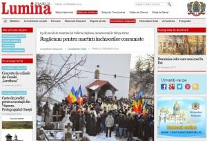 Ziarul Lumina al Patriarhiei despre comemorarea Sfantului Inchsiorilor Valeriu Gafencu