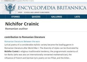 Nichifor Crainic in Enciclopedia Britannica