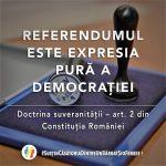 Senator român, nu ne trada! 3 milioane de români așteaptă de 3 ani. Referendumul este expresia pură a democrației. Doctrina suveranității – Art. 2 din Constituția României. REFERENDUM PENTRU CĂSATORIE și FAMILIE, REFERENDUM PENTRU ROMÂNIA. Cine/cum a votat